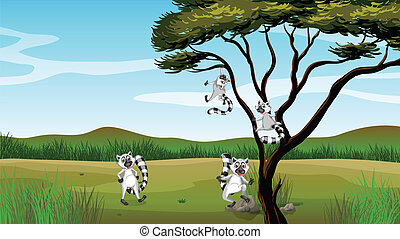 Wild animals playing in the tree - Illustration of wild...