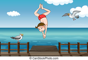 A jumping boy - Illustration of a jumping boy in a water
