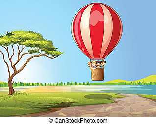 Kids in a air balloon