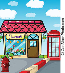 A flower shop, a fire hydrant and a telephone - Illustration...