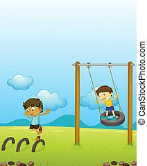 Kids playing swing - Illustration of kids playing swing