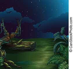 A beautiful landscape in a dark night - Illustration of a...