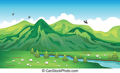 Sheeps, birds and a beautiful landscape - Illustration of...