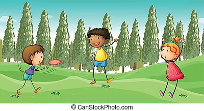 Kids playing flying dish - Illustration of kids playing...