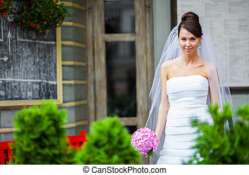 Bride on a wedding day - Young bride on her wedding day