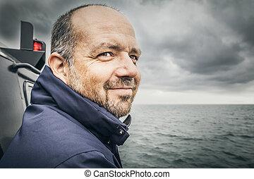 man at the bad sea - An image of a man at the bad sea