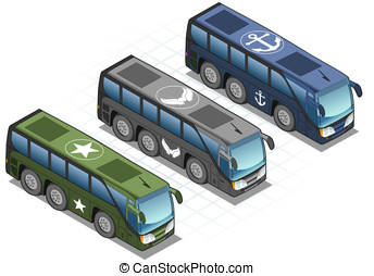 isometric set of military buses