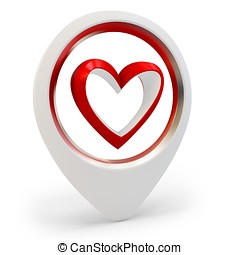 3d heart shape Love you symbol, Valentines day abstract on...