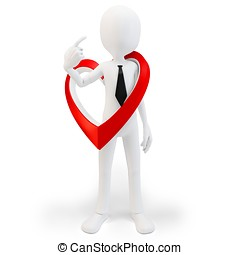 3d man with big red heart, love concept