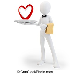 3d man steward with big red heart, love concept on white...