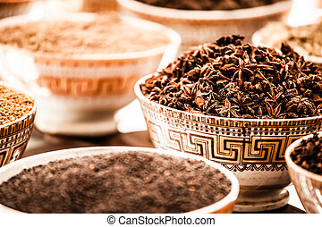 Spices and herbs in bowls. Food and cuisine ingredients....