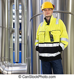 Boiler room engineer - Engineer, wearing protective...