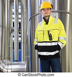 Boiler room engineer - Engineer, wearing protective...