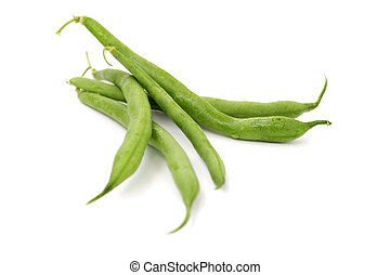 close up of green beans on white background