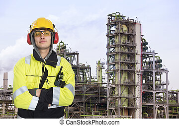 Chemical engineer - Young chemical engineer posing in front...