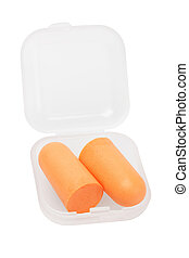 Soft Foam Ear Plugs in Plastic Container on White Background