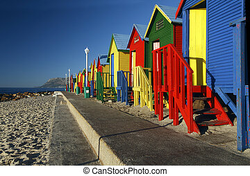 St James Beach Huts - Colorful image of the Beach Huts at St...