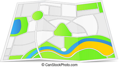 Abstract map on a folded paper, vector eps10 illustration