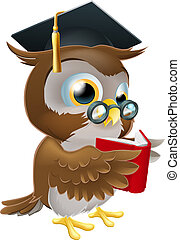 Owl reading book - An illustration of a wise owl on a stack...