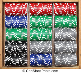 poker chips in wooden box