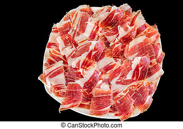 jabugo ham plate closeup - Top view of jabugo ham white...