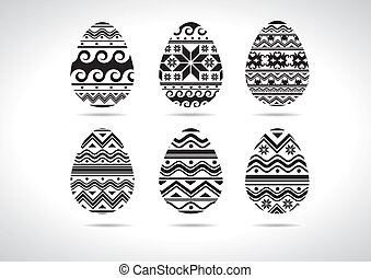 Easter egg ukrainian B/W - set