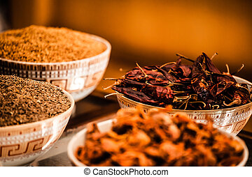 Spices and herbs in bowls Food and cuisine ingredients...