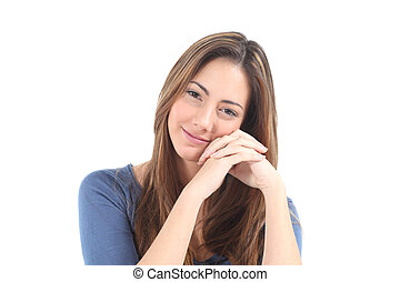 Candid woman watching at the camera on a white isolated...