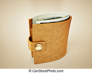 wallet - yellow fat wallet isolated on a light background