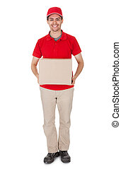 Courier delivering a parcel - Smiling male courier in a red...