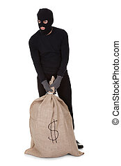 Thief with a large bag of money - Thief in black clothes...