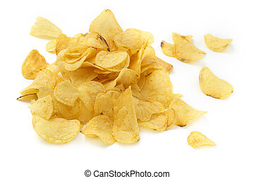 close up of a pile of crisps on white background