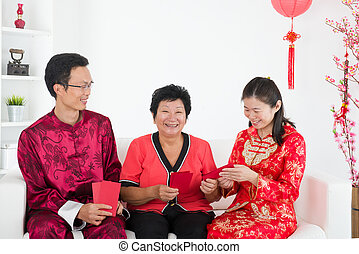 chinese new year celebration by asian family