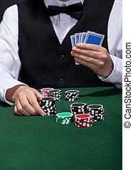 póker, jugador, sobre, lugar, apuesta