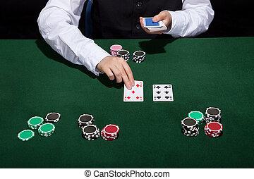 Crupier, tratar, tarjetas