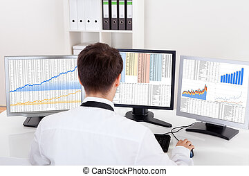 Stock broker trading in a bull market - Over the shoulder...