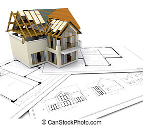 casa, sob, construção