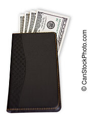 Notebook with money