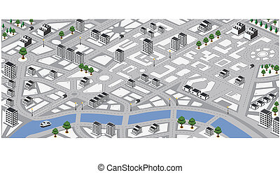 Vector map - Isometric vector map of city