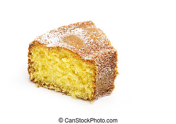 slice of cake isolated on white background