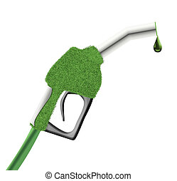 Green fuel pump gun - Gun from the fuel pump covered with...