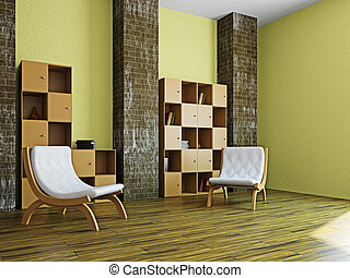 Livingroom with furniture - Livingroom with two chairs near...