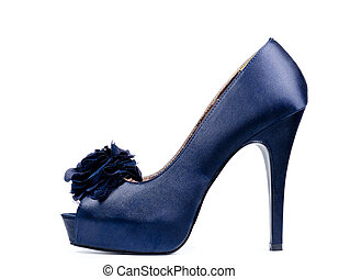 Fashionable high heeled lady's shoe - Fashionable blue high...