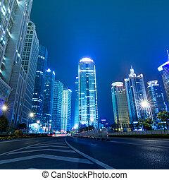 shanghai - Beautiful Shanghai Pudong skyline at dusk in...