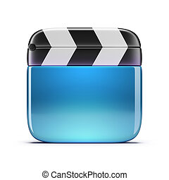 cinema clapper - Glass cinema clapper. 3d image. Isolated...