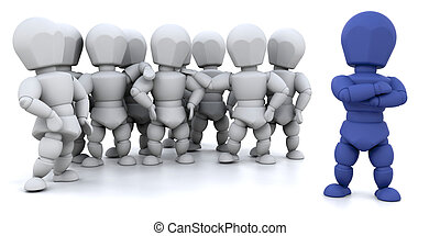 Team leader - 3D render showing a group of people with a...