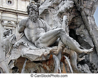 "Fountain detail in Piazza Navona - Details of the ""Fontana..."