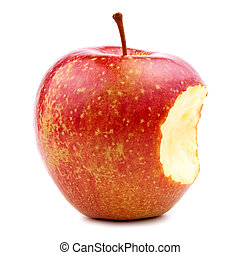MORDIDO, vermelho, maçã, isolado, branca