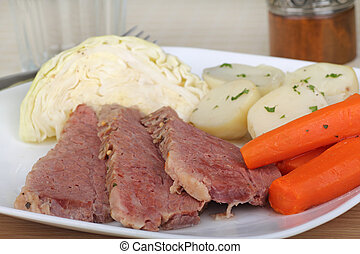 Corned Beef and Vegetables - Corned beef meal with cabbage,...