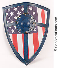 knight's shield - A knight's shield with a flag of the...